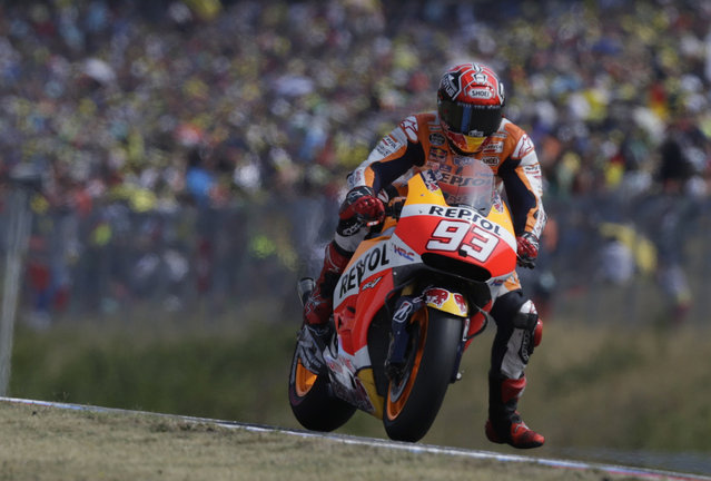 Honda MotoGP rider Marc Marquez of Spain competes in the Czech Grand Prix in Brno, Czech Republic, August 16, 2015. (Photo by David W. Cerny/Reuters)