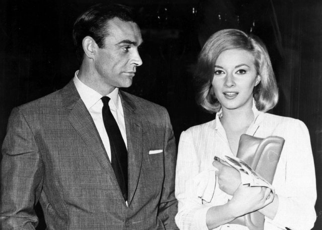 "In this April 25, 1963 file photo, Sean Connery and Italian actress Daniela Bianchi are seen in Istanbul, Turkey. The pair were in the country filming the second Bond film, ""From Russia with Love"". Connery was playing the British secret agent for the second time in what many critics consider to be one of the best Bond film of all. (Photo by AP Photo)"