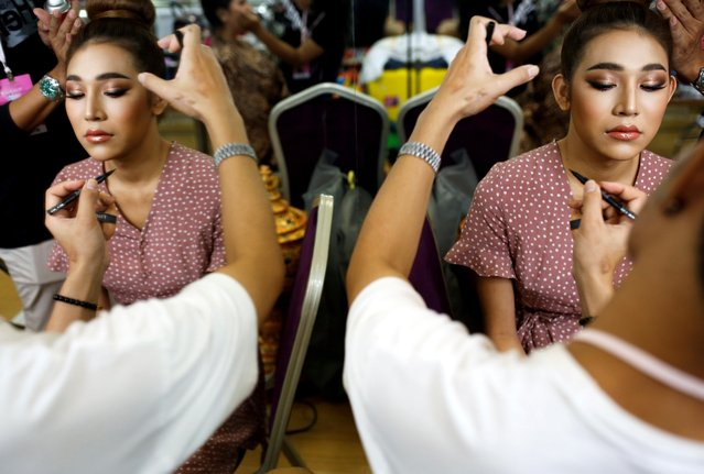 May of Myanmar gets ready for the final show of the Miss International Queen 2020 transgender beauty pageant in Pattaya, Thailand on March 7, 2020. (Photo by Soe Zeya Tun/Reuters)