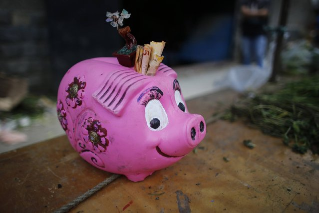 In this August 23, 2017 photo, a piggy bank for tips, filled with 5 Bolivar bills, sits on the table of a vegetable vendor at a market in Caracas, Venezuela. Since 2014, the economy has shrunk by 35 percent, more than the U.S. did during the Great Depression. (Photo by Ariana Cubillos/AP Photo)