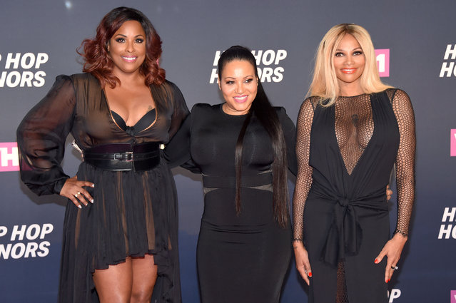 """(L-R) DJ Spinderella and Cheryl """"Salt"""" James and Sandra """"Pepa"""" Denton of Salt-N-Pepa attend the VH1 Hip Hop Honors: All Hail The Queens at David Geffen Hall on July 11, 2016 in New York City. (Photo by Michael Loccisano/Getty Images for VH1)"""
