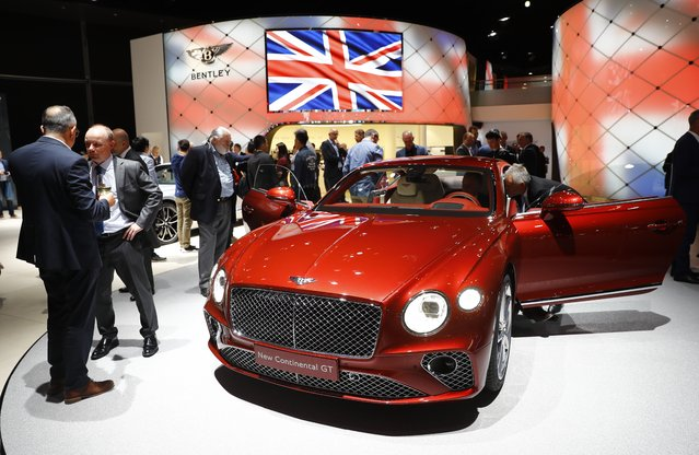 A Bentley Continental GT is pictured during opening of the Frankfurt Motor Show (IAA) in Frankfurt, Germany September 11, 2017. (Photo by Kai Pfaffenbach/Reuters)