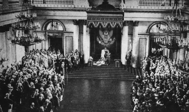 Tsar Nicholas II (1868–1918) opens the first Russian Duma (parliament) in the Winter Palace at St Petersburg, 1906.