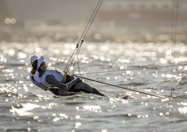 Spanish 49ER fx sailors Tamara Echegoyen Dominguez and Berta Betanzos Moro compete during olympic race in  Guanabara Bay in Rio de Janeiro, Brazil, 13 August 2016. (Photo by Olivier Hoslet/EPA)
