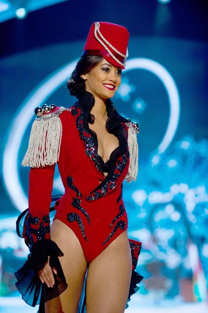 Miss Switzerland 2012, Alina Buchschacher, performs onstage at the 2012 Miss Universe National Costume Show on Friday, December 14, 2012 at PH Live in Las Vegas, Nevada. The 89 Miss Universe Contestants will compete for the Diamond Nexus Crown on December 19, 2012. (Photo by AP Photo/Miss Universe Organization L.P., LLLP)
