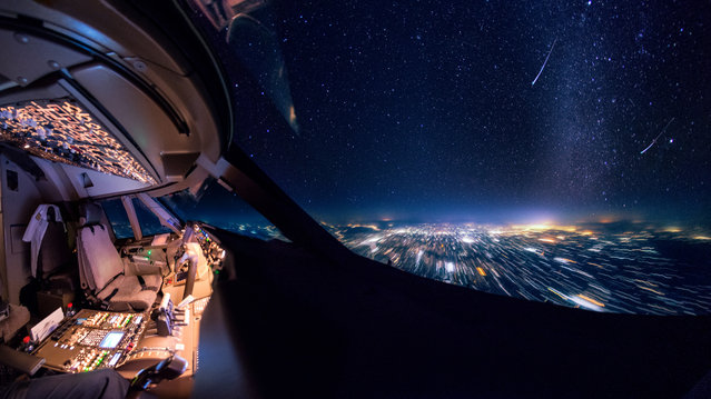 Shooting stars over India. (Photo by Christiaan van Heijst/Caters News Agency)