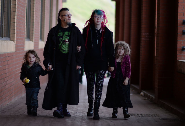 Goth family (R-L) Kaduceen, Lisa, Barry and Morgana; Whitby Goth Weekend, Britain, on November 2, 2014. (Photo by Nigel Roddis/Rex Features)