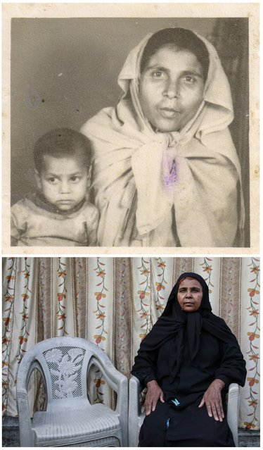 A combination picture shows Bhoori Bi (R) with her daughter Chandni in an undated family photograph (top) and (bottom) Bhoori Bi alone in Bhopal November 12, 2014. Bi said that Chandni died as a result of gas poisoning after the 1984 Bhopal disaster. (Photo by Danish Siddiqui/Reuters)
