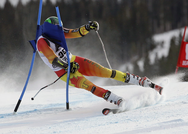 Phil Brown, of Canada, crashes into a gate during the men's World Cup giant slalom skiing event Sunday, December 7, 2014, in Beaver Creek, Colo. (Photo by John Locher/AP Photo)