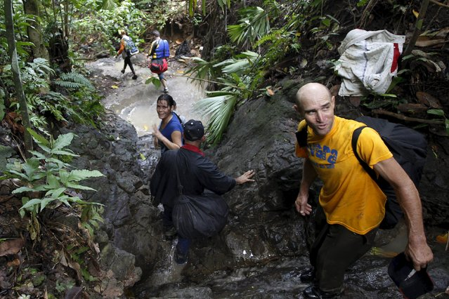 Cuban migrant Luan Median, 47, looks up as he crosses the border from Colombia through the jungle into La Miel, in the province of Guna Yala, Panama November 29, 2015. (Photo by Carlos Jasso/Reuters)