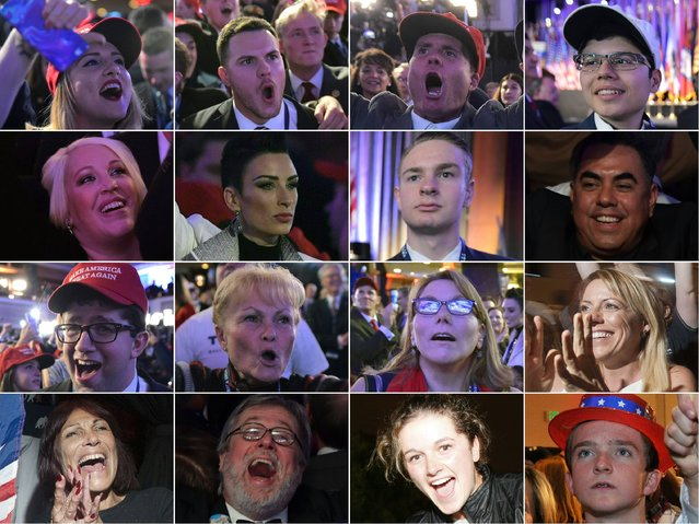 This combination of pictures created on November 09, 2016 shows supporters of Republican presidential nominee Donald Trump reacting to early results during election night in New York on November 8, 2016. Trump stunned America and the world on November 9, 2016 riding a wave of populist resentment to defeat Hillary Clinton in the race to become the 45th president of the United States. Millions of Americans voted November 8th for their new leader in a historic election that will either elevate Democrat Hillary Clinton as their first woman president or hand power to maverick populist Donald Trump. (Photo by AFP Photo)