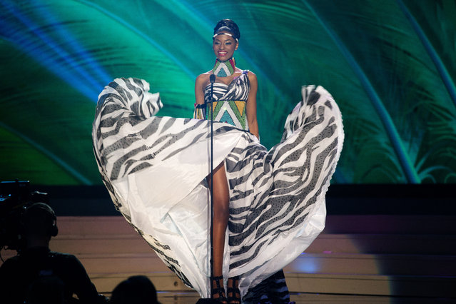 Miss South Africa, Ziphozakhe Zokufa, poses for the judges, during the national costume show during the 63rd annual Miss Universe Competition in Miami, Fla., Wednesday, January 21, 2015. (Photo by J. Pat Carter/AP Photo)
