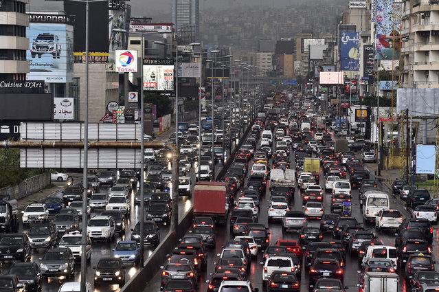 Rush hour in traffic during coronavirus (COVID-19) pandemic in Beirut, Lebanon on December 21, 2020. (Photo by Houssam Shbaro/Anadolu Agency via Getty Images)
