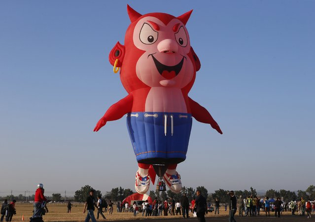Spectators take pictures and watch the Burnie the Little Devil hot air balloon as it takes off during the Philippine International Hot Air Balloon Fiesta at Clark Freeport Zone in Pampanga province, north of Manila February 12, 2015. (Photo by Erik De Castro/Reuters)