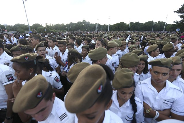 Cadets gather to pay tribute to Cuba's late President Fidel Castro at Revolution Square in Havana, Cuba, November 29, 2016. (Photo by Edgard Garrido/Reuters)