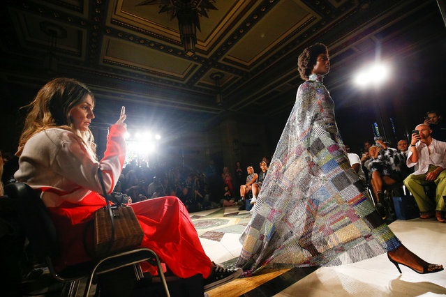 A model presents a creation during Swedish School of Textiles catwalk show at the Freemasons Hall during London Fashion Week Women's in London, Britain September 14, 2018. (Photo by Henry Nicholls/Reuters)