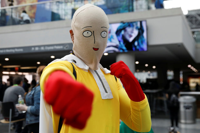A person dressed up as Saitama from One Punch Man attends the 2018 New York Comic Con in Manhattan, New York on October 4, 2018. (Photo by Shannon Stapleton/Reuters)