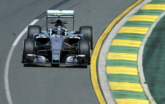 Mercedes Formula One driver Nico Rosberg of Germany drives during the first practice session of the Australian F1 Grand Prix at the Albert Park circuit in Melbourne March 13, 2015.   REUTERS/Mark Dadswell