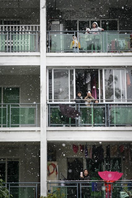 People react as they see snow from their balconies in Guangzhou, Guangdong province, January 24, 2016. The snow on Sunday was the first snow the city witnessed since 1967, according to local media. (Photo by Reuters/China Daily)