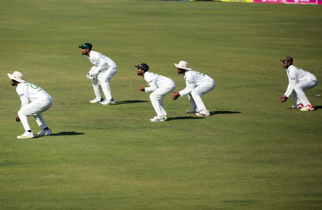 Bangladesh  players  position themseleves for a catch on the second  day of the test cricket match  between Zimbabwe  and Bangladesh at Harare Sports Club in Harare,Thursday, July,8, 2021.(Photo by Tsvangirayi Mukwazhi/AP Photo)