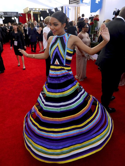 Yara Shahidi arrives at the 23rd annual Screen Actors Guild Awards at the Shrine Auditorium & Expo Hall on Sunday, January 29, 2017, in Los Angeles. (Photo by Matt Sayles/Invision/AP Photo)
