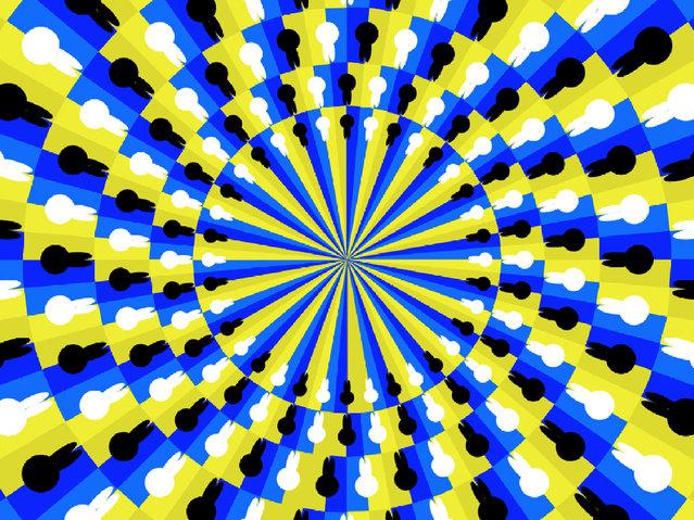 Inner circle appears to rotate clockwise. (Photo by Akiyoshi Kitaoka/Caters News)