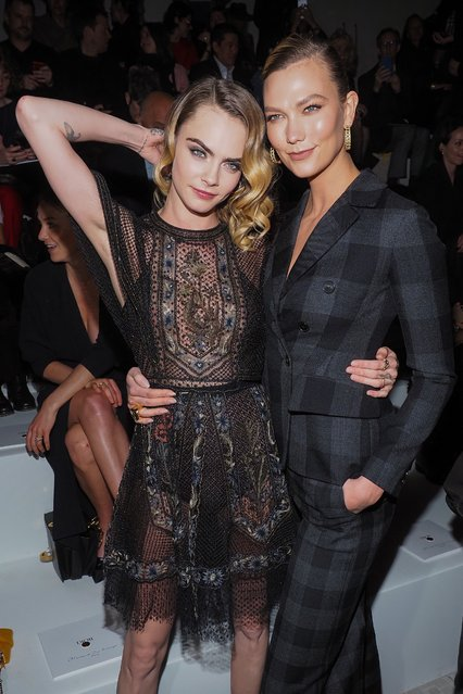 Cara Delevingne and Karlie Kloss attending the Dior show as part of the Paris Fashion Week Womenswear Fall/Winter 2020/2021 on February 25, 2020 in Paris, France. (Photo by Laurent Vu/SIPA Press)