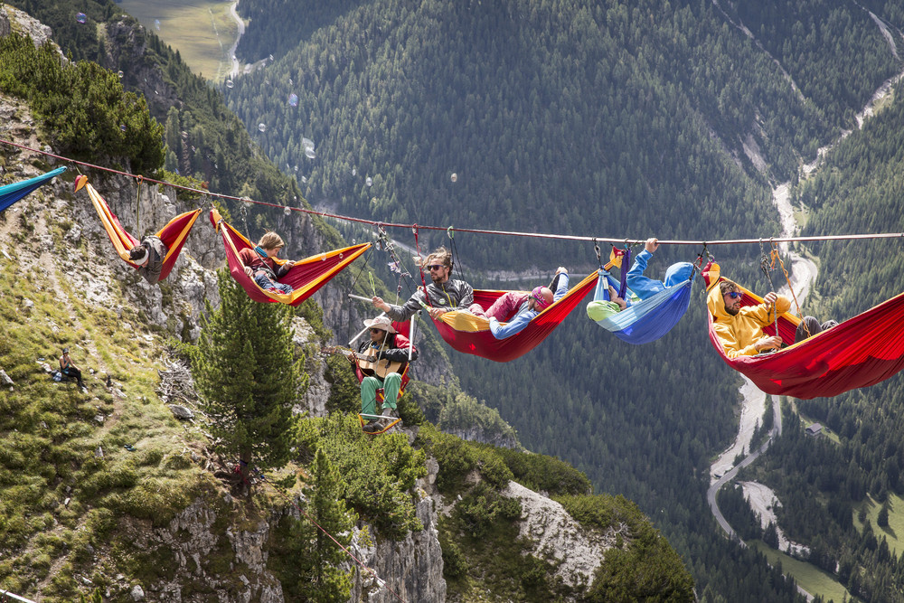 Highline Festival in Monte Piana: Hammocks Miles above Ground
