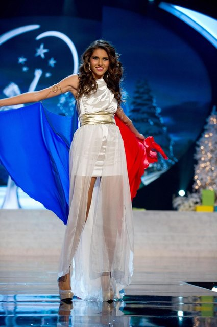 Miss France 2012, Marie Payet, performs onstage at the 2012 Miss Universe National Costume Show on Friday, December 14, 2012 at PH Live in Las Vegas, Nevada. The 89 Miss Universe Contestants will compete for the Diamond Nexus Crown on December 19, 2012. (Photo by AP Photo/Miss Universe Organization L.P., LLLP)