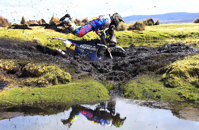 Argentinian biker Franco Caimi crashes during Stage 7 of the 2018 Dakar Rally between La Paz and Uyuni, Bolivia, on January 13, 2018. (Photo by Franck Fife/AFP Photo)