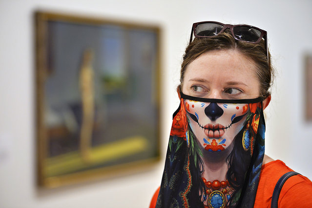 Cera Zittlow looks at artwork in the Whitney Museum after it reopened its doors following the COVID-19 shutdown on September 3, 2020 in New York. (Photo by Matthew McDermott/The New York Post)