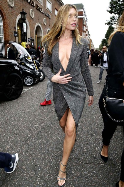 Abbey Clancy attends the Julien Macdonald show at the Seymour Leisure Centre during London Fashion week on September 17, 2016 in London, England. (Photo by Beretta/Sims/Rex Features/Shutterstock/SIPA Press)