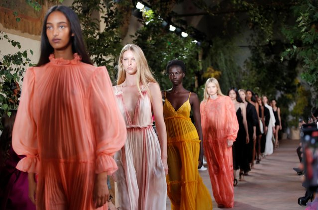 Models present creations from the Alberta Ferretti Spring/Summer 2021 women's collection during fashion week in Milan, Italy, September 23, 2020. (Photo by Alessandro Garofalo/Reuters)