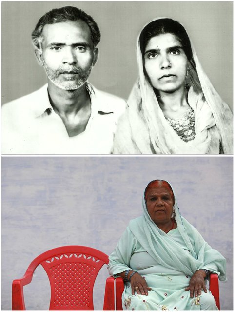 A combination picture shows Aamna (R) with her husband Munawar Ali in an undated family photograph (top) and (bottom) Aamna alone in Bhopal November 13, 2014. Aamna said that Ali died as a result of gas poisoning after the 1984 Bhopal disaster. (Photo by Danish Siddiqui/Reuters)