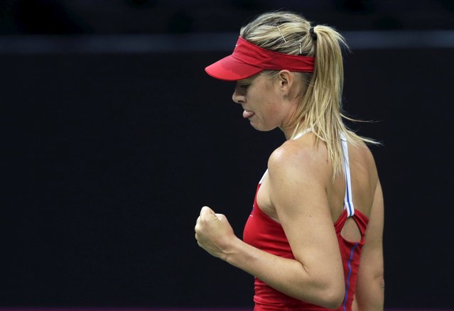 Russia's Maria Sharapova reacts during their final match of the Fed Cup tennis tournament against Czech Republic's Karolina Pliskova in Prague, Czech Republic, November 14, 2015. (Photo by David W. Cerny/Reuters)