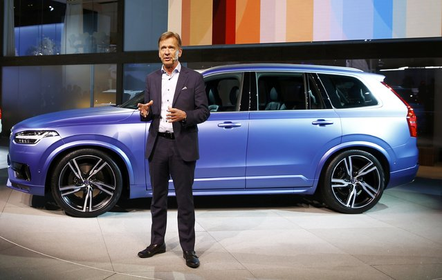 Hakan Samuelsson, President & CEO, Volvo Car Group, speaks next to his company's XC-90 during the first press preview day of the North American International Auto Show in Detroit, Michigan, January 12, 2015. (Photo by Mark Blinch/Reuters)
