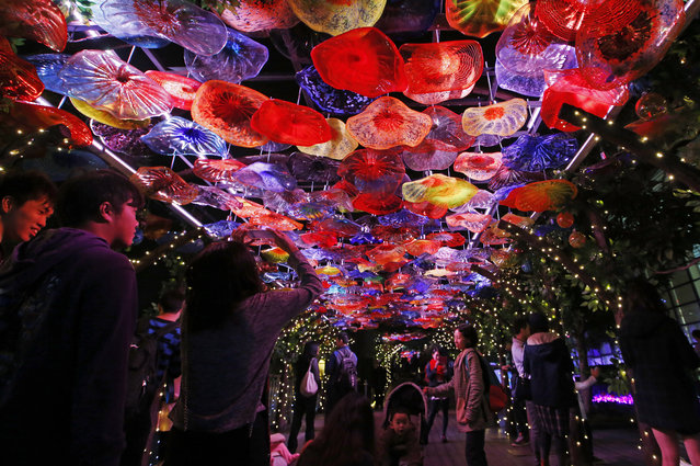 """Visitors take pictures of an illuminated installation constructed with glass and LED lights as part of the upcoming Christmas celebrations at the """"Starlight Garden"""" in Hong Kong, Thursday, December 10, 2015. (Photo by Kin Cheung/AP Photo)"""