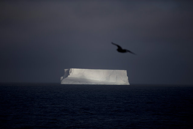 In this January 27, 2015 photo, an iceberg floats in the Bahia Almirantazgo near Livingston Island, part of the South Shetland Island archipelago in Antarctica. Antarctica conjures up images of quiet mountains and white plateaus, but the coldest, driest and remotest continent is far from dormant. The majority of it is covered by ice, and that ice is constantly moving. (Photo by Natacha Pisarenko/AP Photo)