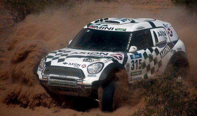 Mikko Hirvonen of Finland drives his Mini during the ninth stage of the Dakar Rally 2016 near Belen, Argentina, January 12, 2016. (Photo by Marcos Brindicci/Reuters)