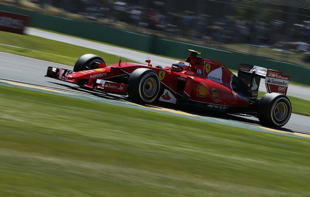 Ferrari Formula One driver Kimi Raikkonen of Finland drives during the first practice session of the Australian F1 Grand Prix at the Albert Park circuit in Melbourne March 13, 2015.  REUTERS/Jason Reed