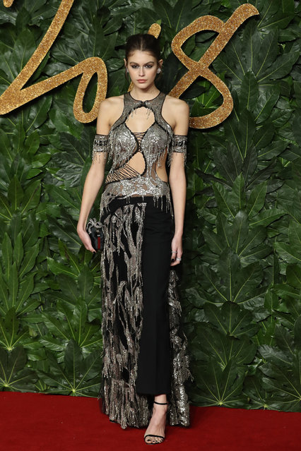 US model Cindy Crawford's daughter, US model Kaia Jordan Gerber poses on the red carpet upon arrival to attend the British Fashion Awards 2018 in London on December 10, 2018. (Photo by Daniel Leal-Olivas/AFP Photo)