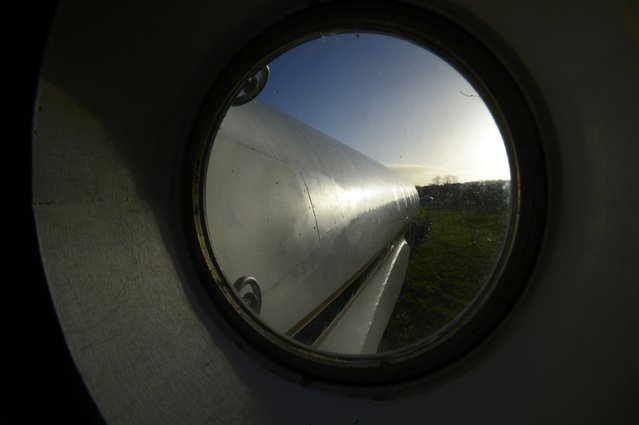 The view from the bedroom area attached to a luxury Jetstar private jet, built in the seventies and retaining most of the original features which is now being used as a holiday let is seen in Redberth, Pembrokeshire, Wales, January 11, 2017. (Photo by Rebecca Naden/Reuters)