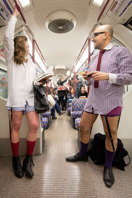 """Participants in the 13th annual International """"No Pants Subway Ride"""" travel on a London underground train in London, on January 12, 2014. (Photo by Leon Neal/AFP Photo)"""