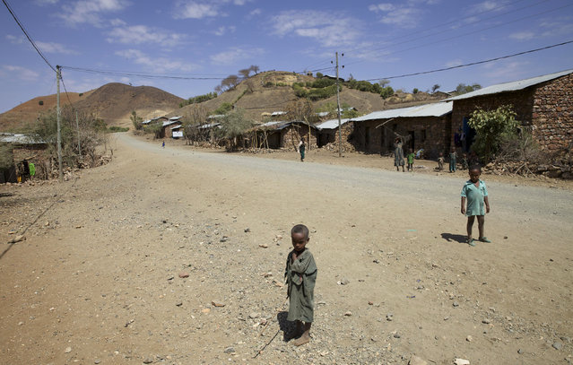 Children stand along the road in the village of Tsemera in Ethiopia's northern Amhara region, February 12, 2016. (Photo by Katy Migiro/Reuters)