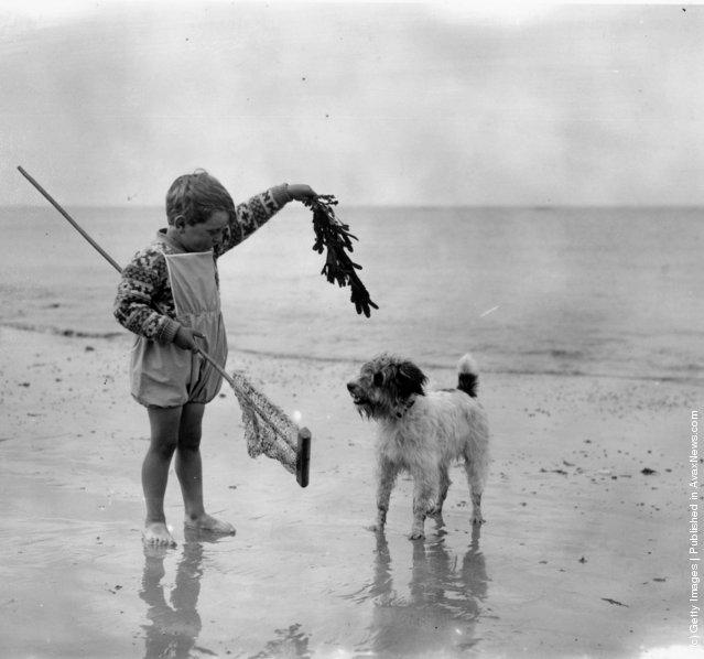 A young child with his dog on the beach, 1926