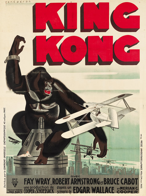 """King Kong (RKO, 1933). French Grande (47"""" X 62.5"""") Style B - Rene Peron Style. King Kong is recognized the world over as one of the greatest monster films ever created, thanks to its landmark special effects that would introduce a whole new dimension to movie making. Estimate: $15,000 - $30,000. (Photo by Courtesy Heritage Auctions)"""
