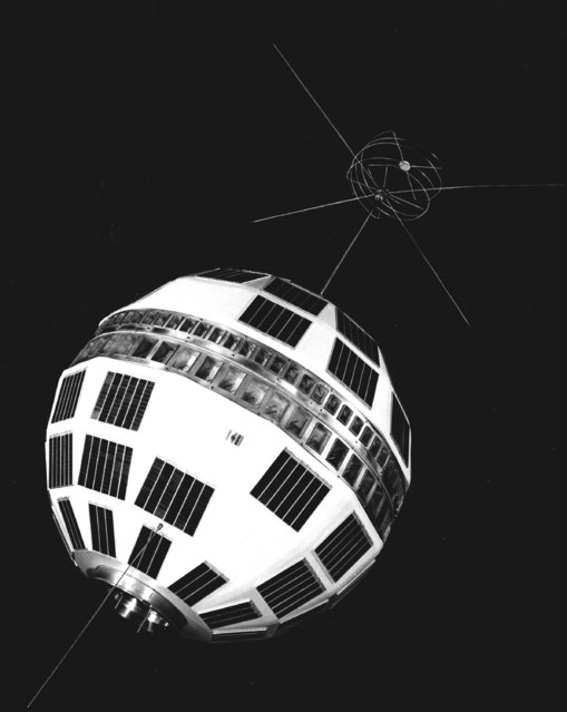 The Telstar satellite, designed by Bell Telephone Laboratories for relaying telephone calls, data messages and television signals, is shown in 1962. (Photo by AP Photo)
