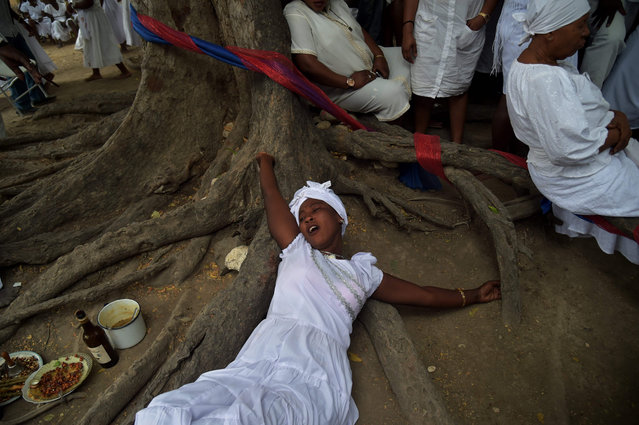 A Haitian woman lies in a trance during a voodoo ceremony in Souvenance, a suburb of Gonaives, 171 km north of Port- au- Prince, on April 16, 2017. Haitian voodoo followers arrived in Souvenance to take part in the voodoo ceremonies held during Easter weekend. (Photo by Hector Retamal/AFP Photo)