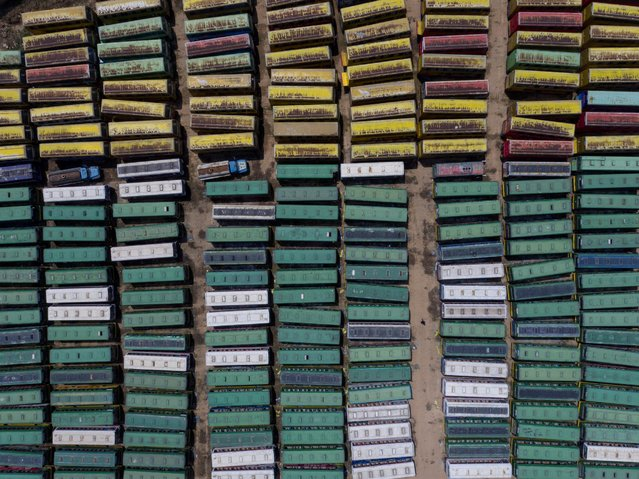 Scrapped buses are seen at a parking lot in Taiyuan, Shanxi province, China May 1, 2016. (Photo by Reuters/Stringer)