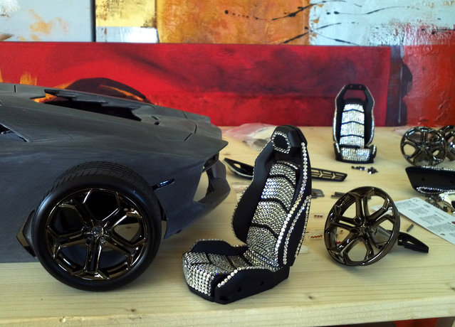 Engineer Robert Gülpen's replica model of a Lamborghini Aventador LP 700-4 as work is in progress, in the engineer's workshop in Bavaria, Germany. (Photo by Robert Gulpen/Barcroft Media)